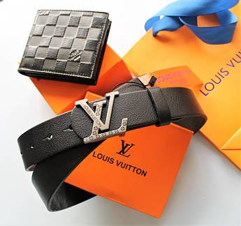 Мужской подарочный набор - ремень и кошелек Louis Vuitton black
