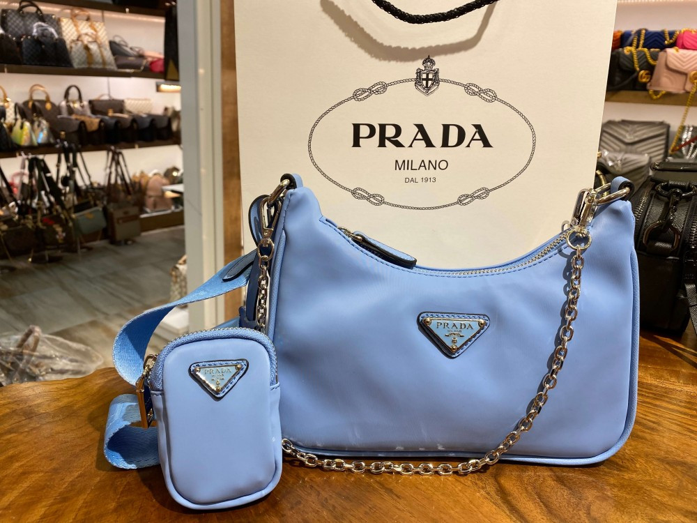 Prada Re-Edition 2005 Nylon Mini Shoulder Bag Astral Blue