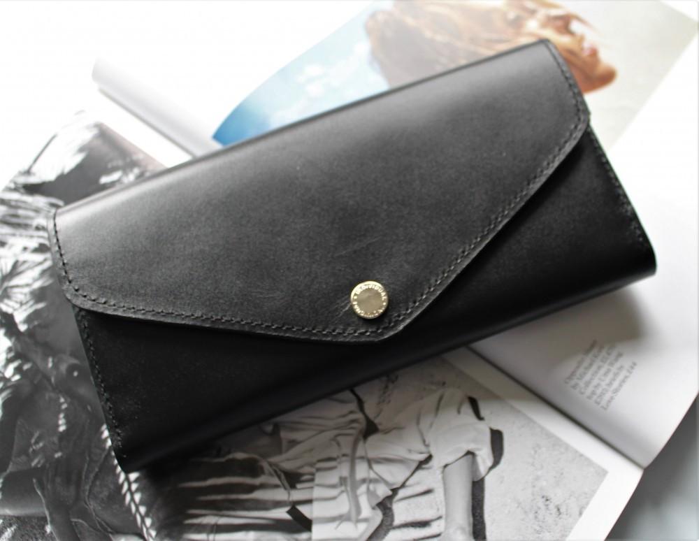 """Шкіряний жіночий гаманець ручної роботи """"Classico"""" чорний"""