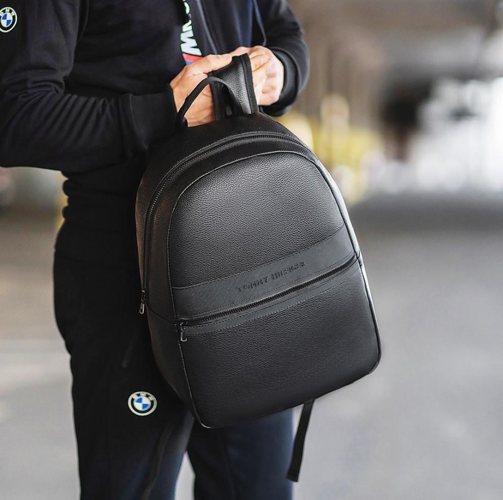 Шкіряний рюкзак Tommy Hilfiger чорний