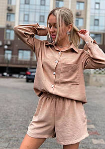 Женский костюм с шортами модный шорты и рубашкаповседневный прогулочный