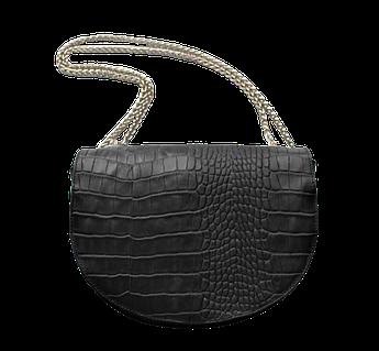 Женская кожаная небольшая сумка с тиснением под крокодила черная