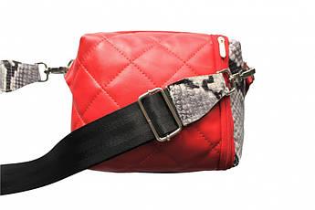 """Женская кожаная двухсторонняя сумка """"Minimo"""" красно-черная"""