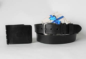 """Подарунковий набір ремінь і гаманець """"Solidamente"""" чорний"""