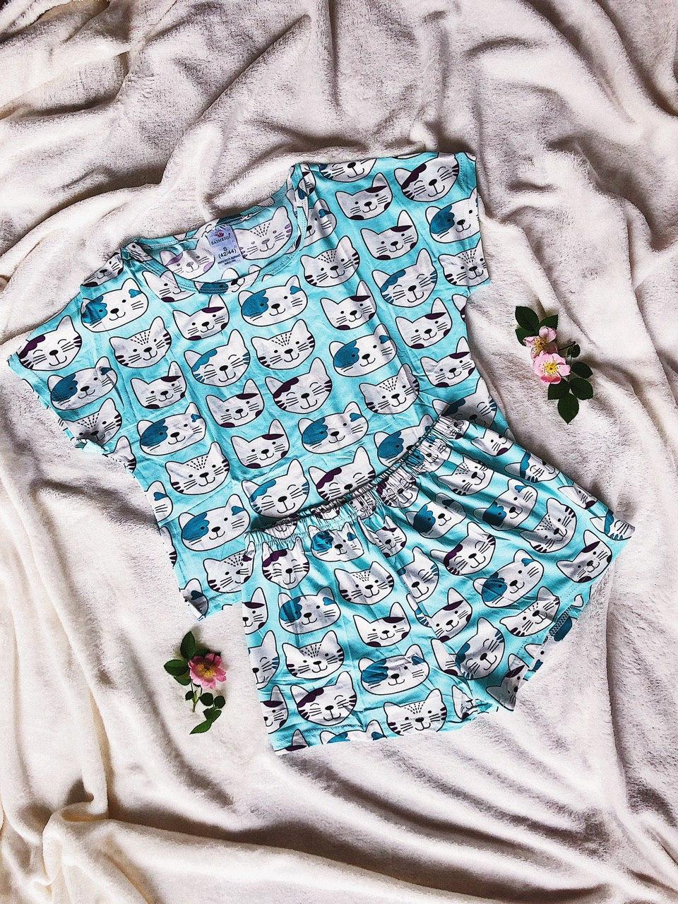 Пижама Трикотажная Футболка и   шортики Котики Мятного цвета