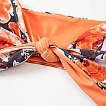 Купальник роздільний жіночий помаранчевий з квітковим принтом, фото 4