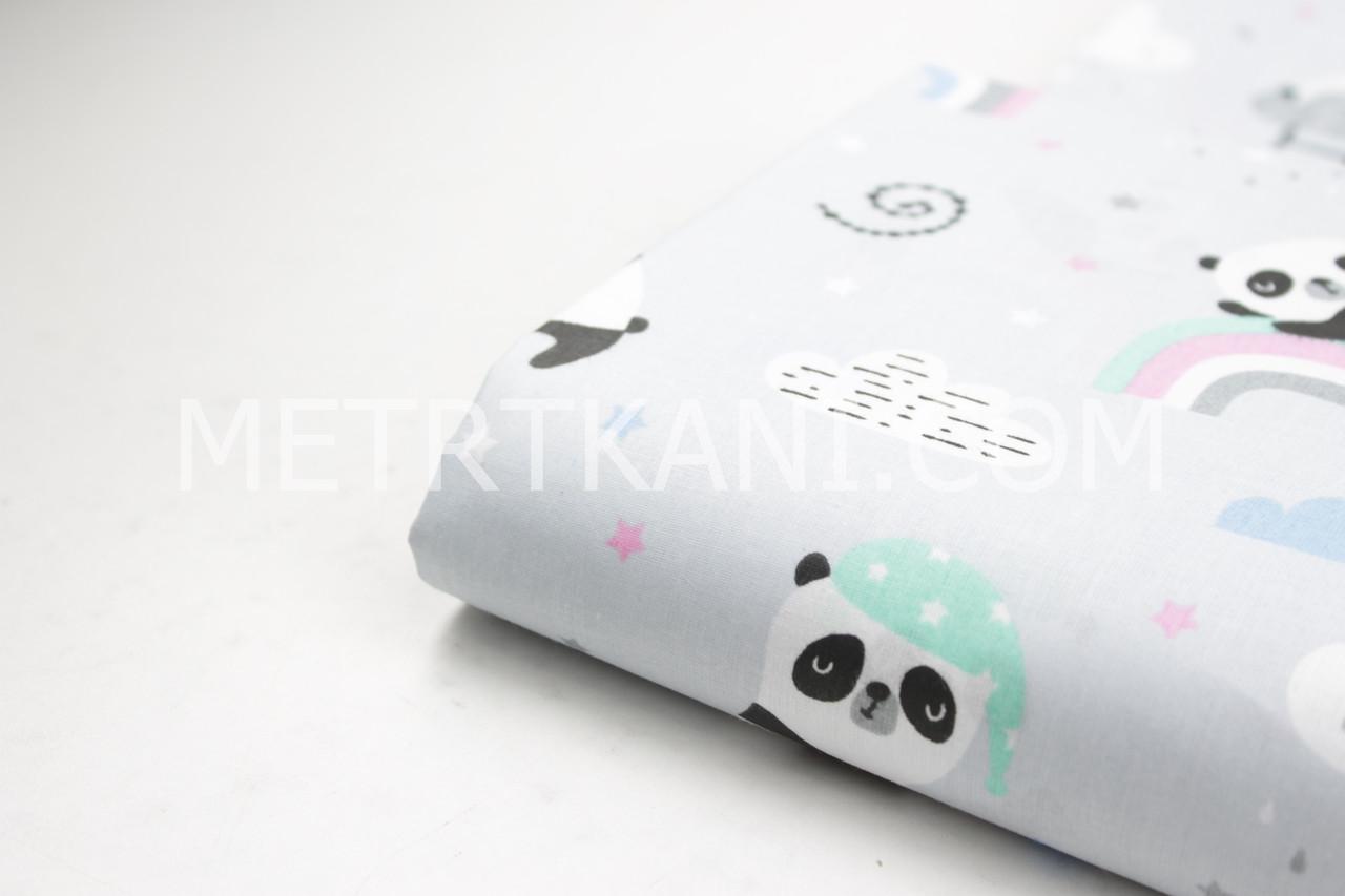 """Лоскуток.Ткань хлопковая """"Панды на мятно-розовой радуге"""" на светло-сером фоне, 40*160 см"""