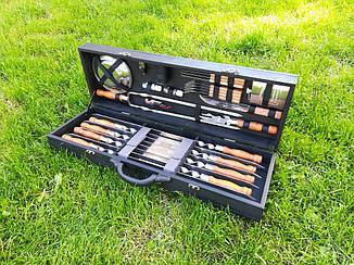 """Набір 8 шампурів для люля-кебаб """"Lux"""" (720х20х2.5 мм) + комплект аксесуарів в дерев'яному кейсі"""