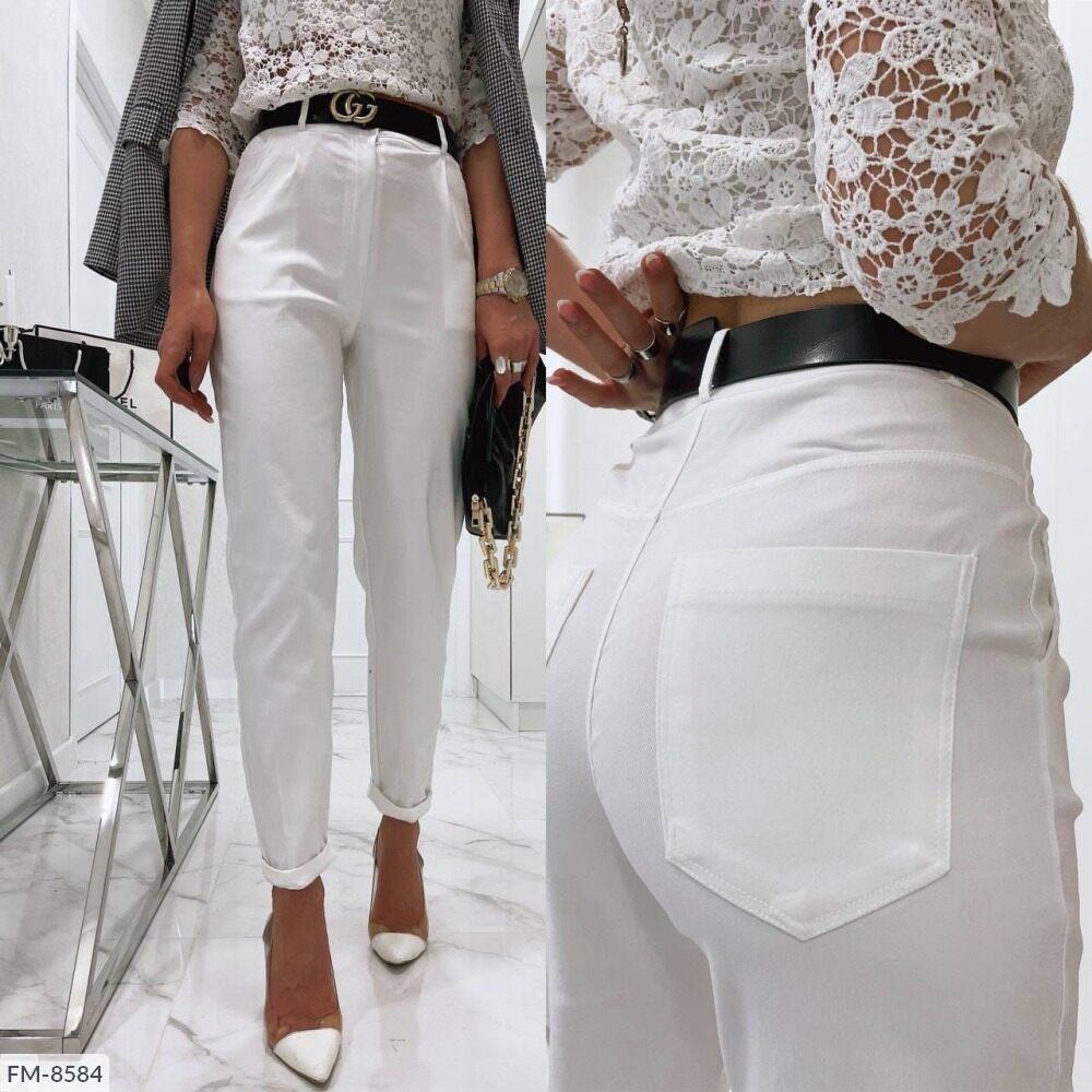 Женские джинсы с завешенной талией и со шлёвками на поясе