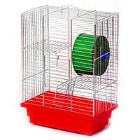 """Клітка для хом'яка триповерхова """"Дім""""(280х180х320) цинк"""