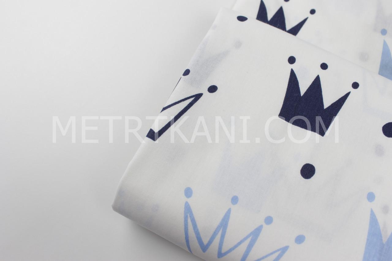"""Лоскуток. Ткань хлопковая """"Короны"""" голубые и синие на белом , 44*60 см"""