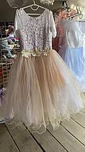 Детское красивое праздничное нарядное платье фатин-гипюр на 6-7 лет.