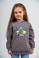 Джемпер детский 5-6 лет из трехнитки с начесом серый
