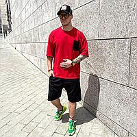 Червоний річний оверсайз комплект чоловічий ASOS   Туреччина   футболка + шорти   бавовна + поліестер