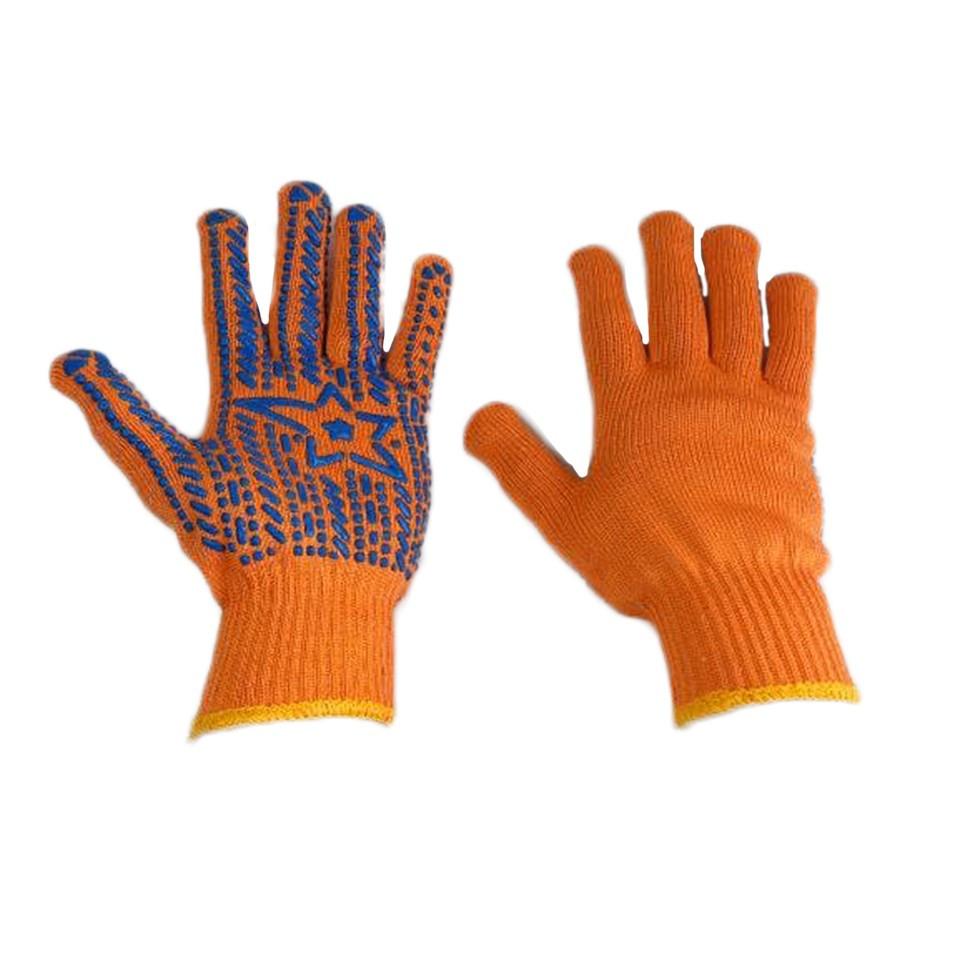 Рукавички робочі ХБ Зірка помаранчеві