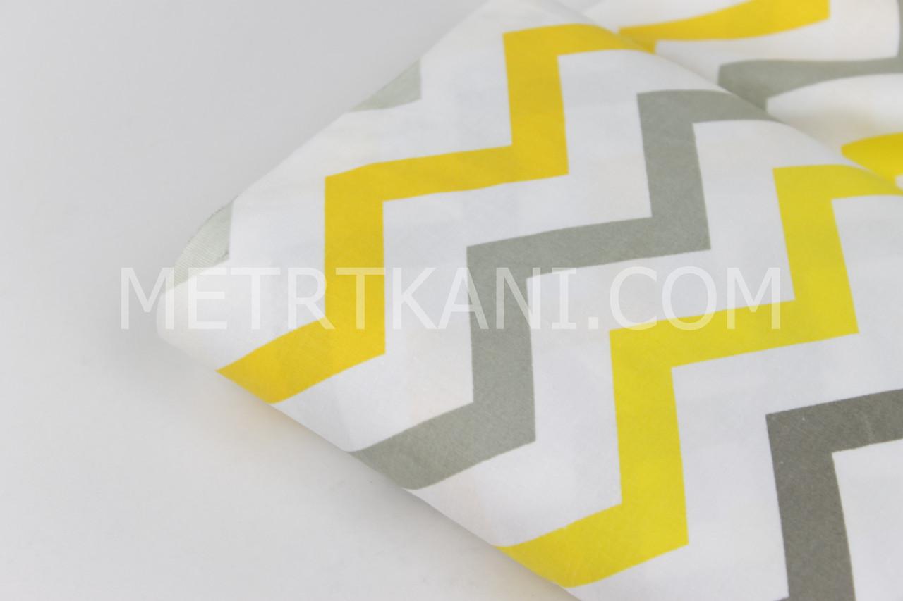 Лоскуток. Бязь детская зигзаг желто- серый на белом фоне 135 (г/м2) , 57*160 см