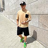 Бежевый летний оверсайз комплект мужской ASOS   Турция   футболка + шорты   хлопок + полиэстер