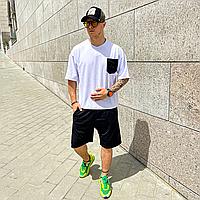 Білий літній оверсайз комплект чоловічий ASOS   Туреччина   футболка + шорти   бавовна + поліестер