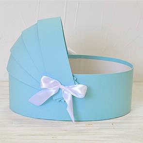 Коробка люлька для квітів 36*25*12см блакитна