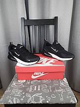 Кроссовки мужские черные с белым Nike Air Max 270 Black White Кроссы Найк Аир Макс 270 черно-белые весенние