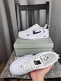 Nike Air Force 1 07 Low LV8 Ultra White белые Найк Эйр Форс 1 07 Лов ЛВ8 кроссовки для мужчин. Обувь весенняя, фото 9