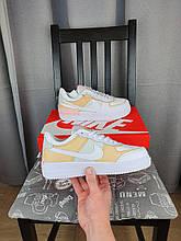 Nike Air Force 1 Shadow Spruce Aura белые с бежевым кроссы женские Кроссовки Найк Аир Форсе белые с желтым