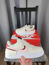 Бежевые Nike Air Force 1 Shadow Phantom кроссы женские. Кроссовки Найк Аир Форсе Шедоу Фантом для девушек 2021