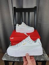 Женские кроссовки Puma Cali Sport Mix White белые кожаные Пума Кали Спорт Микс