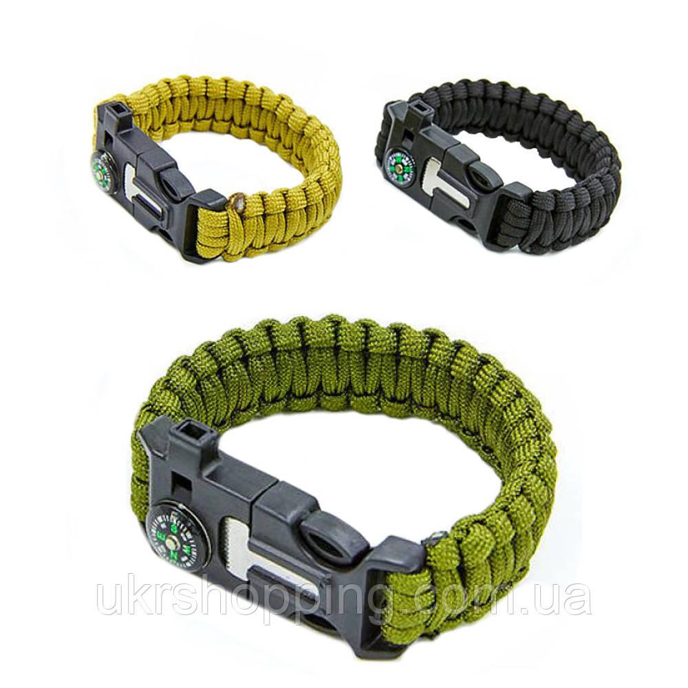 Тактичний браслет з паракорду Paracord Fire Starter Bracelet TY-6836  браслет з компасом (Хакі)