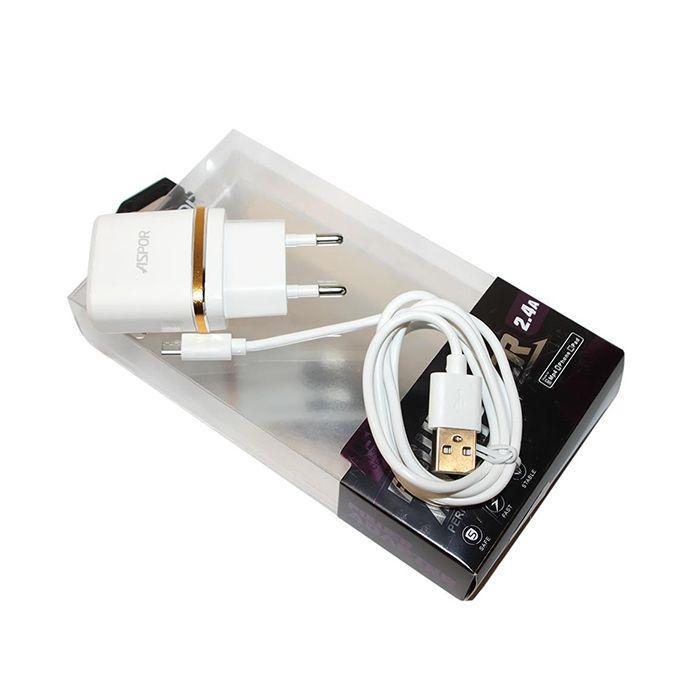 СЗУ Aspor A828 2USB 2.4 A + Micro USB White