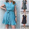 Р 42-48 Літній натуральне плаття-сорочка в горох 23962
