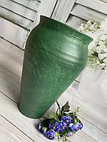 Вазон из красной глины с зелёным покрытием h 40 см ручной работы