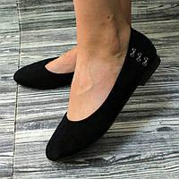 Балетки жіночі замшеві чорні