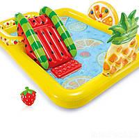 Бассейн надувной детский Игровой центр Веселые фрукты Intex Размеры- 244х91х191 см с воротами и сеткой