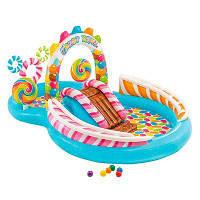 Бассейн надувной детский с горкой Игровой надувной центр Сладости Intex Размеры- 295х191х130 см