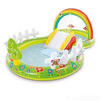 Бассейн надувной детский с горкой игровой центр Мой сад Intex Размеры- 290х180х104 см