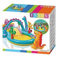Бассейн надувной детский с горкой Игровой центр Планета динозавров Intex Размеры- 112 x 333 x 229 см