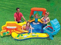 Бассейн надувной водный детский с горкой Надувной игровой центр Динозавр Intex Размеры- 249х191х109 см