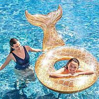 Надувной круг Русалочка Золотой для детей Интекс Качественный Intex 56258 Размер 119х119 см
