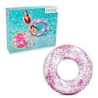 Надувной круг Розовый с блесками для детей и взрослых Интекс Качественно выполнен Intex 56274 Размер 119х119