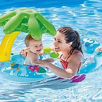 Двойной надувной круг с пальмой для детей и взрослых Интекс Качественно выполнен Intex 56590 Размер 117х75 см