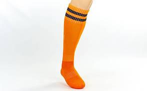 Гетры футбольные взрослые оранжевые с черной  полосой CO-3256-O