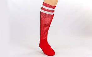 Гетры футбольные взрослые красные с белой полосой CO-3257-R