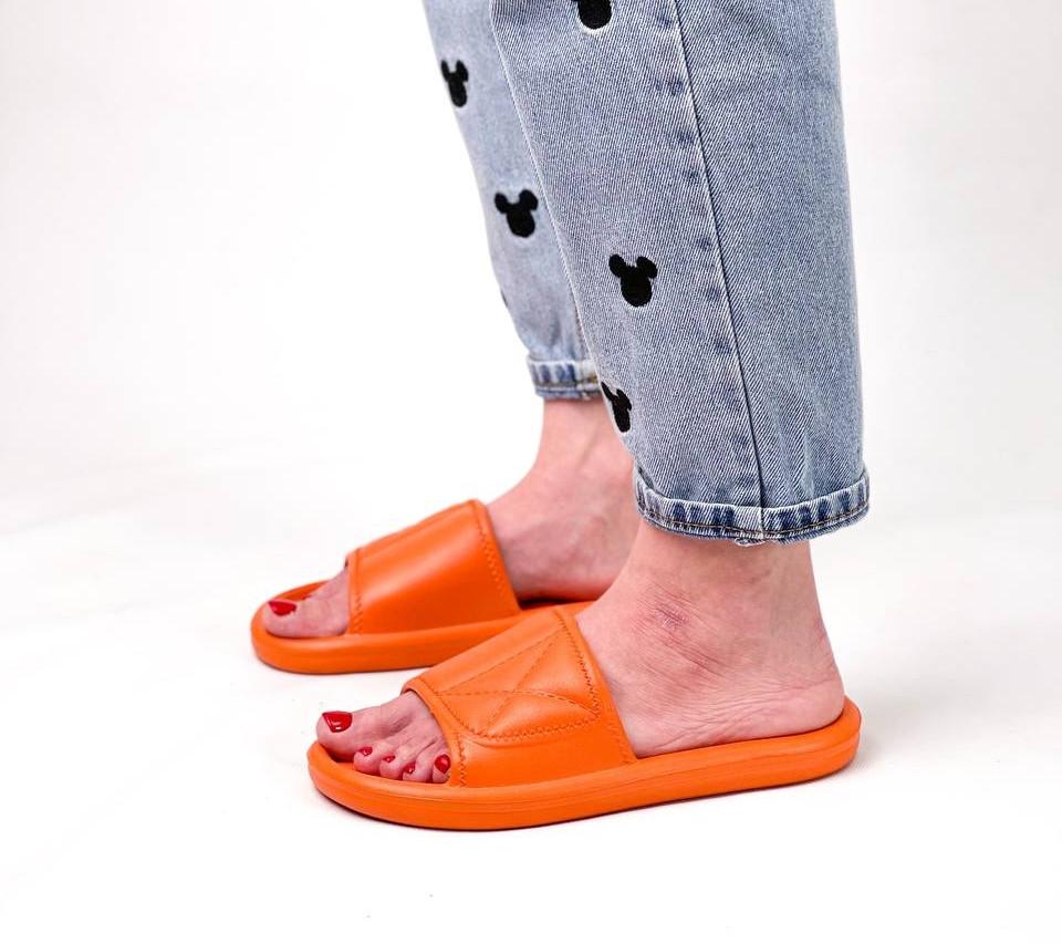Жіночі шльопанці яскраві помаранчеві силікон/ резина