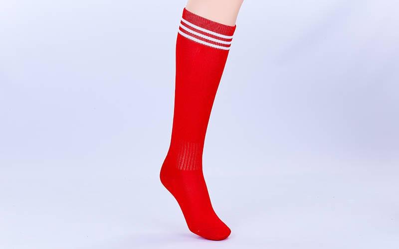 Гетры футбольные детские красные с белой полосой EDP601-R