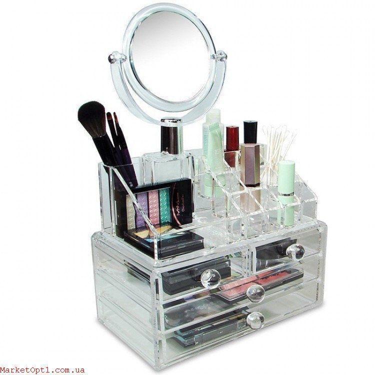 [ОПТ] Акриловий органайзер для косметики Cosmetic Organizer з дзеркалом