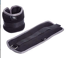 Обтяжувачі-манжети для рук і ніг FI-1303-2 (2 x 1кг) чорно сірий(нейлон,метал.кульки)