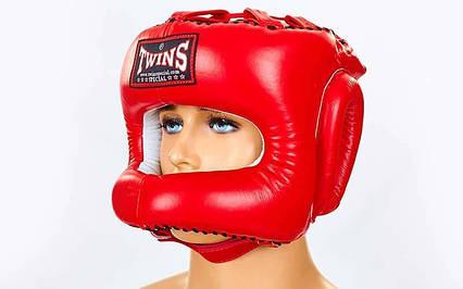 Шолом боксерський з бампером шкіряний TWINS HGL-9-RD-XL, фото 2