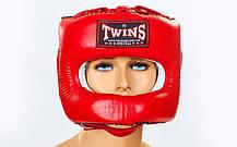 Шолом боксерський з бампером шкіряний TWINS HGL-9-RD-XL, фото 3