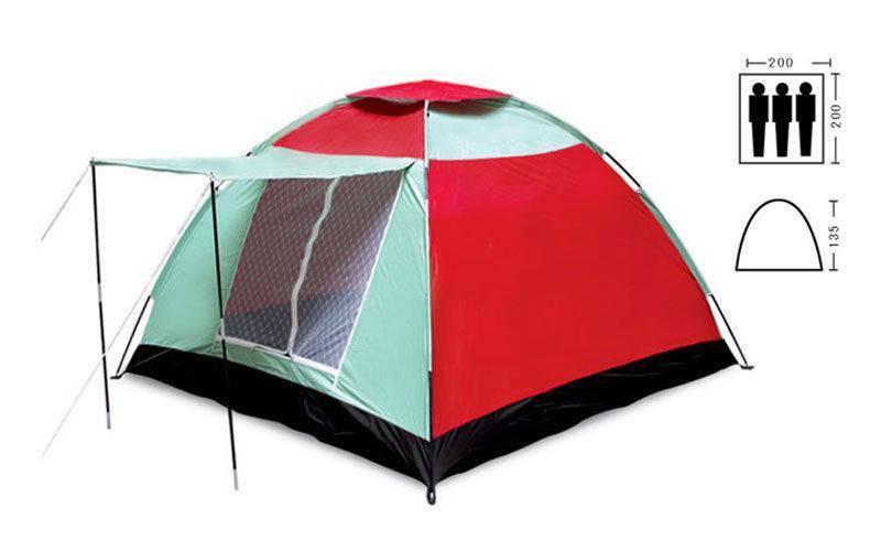 Палатка универсальная 3-х местная с тамбуром р-р 2х2х1,35м, PL (SY-019)